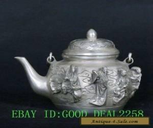 Tibet Tibetan Silver Copper Hand-Carved Ba Xian Teapot Pot w Qianlong Mark  for Sale