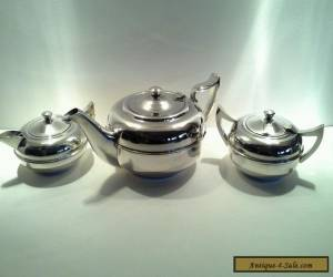 Vintage Art Deco Silverplated Teapot, Sugar Bowl & Creamer for Sale