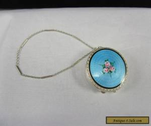 Antique Webster Sterling Silver Blue Guilloche Enamel Compact with Wrist Chain for Sale