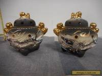 VINTAGE Moriage Gold Gilt DRAGONWARE JAPAN INCENSE BURNER Set of 2