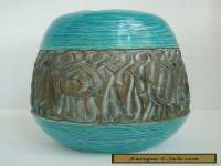 Vintage Bitossi Rimini Blue Vase with Gold Abstract Warriors
