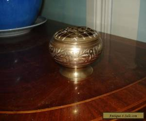 Antique Victorian Brass Pot Pourri Incence Burner  With Detachable Lid an oldie  for Sale