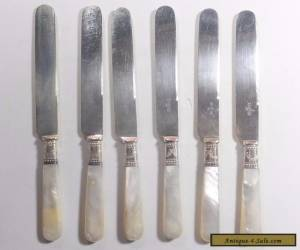 6 Mother Of Pearl Handle 7.75 Inch Butter knives Sterling Wrap for Sale