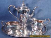 ANTIQUE GORHAM DURGIN STERLING SILVER DEMITASSE SET COFFEE POT, C&S + TRAY 27 OZ