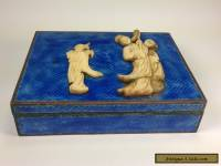 ANTIQUE CHINESE BLUE ENAMEL HUMIDOR BOX WITH CARVED BOVINE BONE INSET