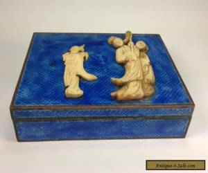 ANTIQUE CHINESE BLUE ENAMEL HUMIDOR BOX WITH CARVED BOVINE BONE INSET for Sale