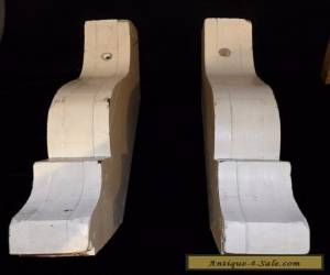 Pair of Vintage Corbels  Architectural Salvage  White Paint Wood  for Sale