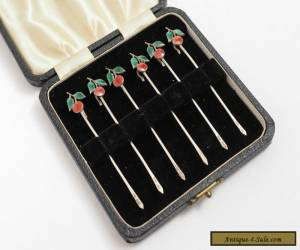 Set of Vintage Silver and Enamel Cocktail Sticks for Sale