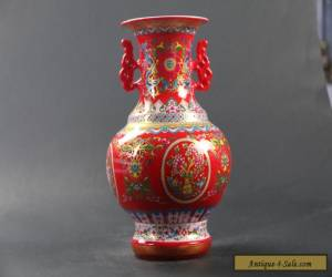 Chinese Enamel Hand-Painted Flower Vase w Qing Dynasty Qianlong Mark C1053 for Sale