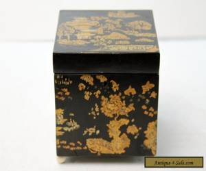 Antique Chinese Black  Lacquer Wood Box Square Gilt Gold decoration for Sale