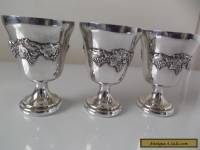 VINTAGE KENSON 3 SILVER PLATED GOBLETS DECORATIVE GRAPE DESIGN