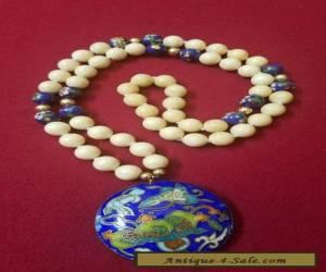ANTIQUE CHINESE CLOISONNE ENAMEL Butterfly Flower Pendant Necklace for Sale