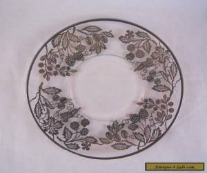 Vintage Antique Glass Plate with Sterling Silver Inlay, Elegant, Decorative for Sale