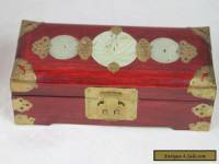 Vintage Chinese Hand Carved Jade Stone Wood & Brass Jewelry Box