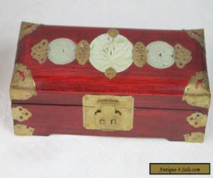 Vintage Chinese Hand Carved Jade Stone Wood & Brass Jewelry Box for Sale