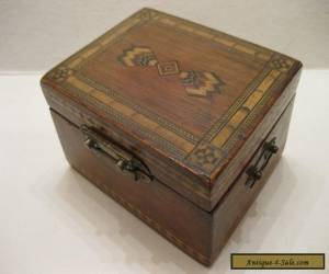 Antique  multi Wooden Wood Inlay Tea Caddy Box for Sale