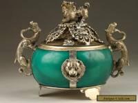 Old Tibet Handmade Silver Dragon Jade Incense Burner NR