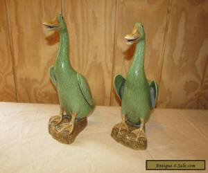 Pair old or Antique Chinese Export Porcelain Celadon Duck Figurines for Sale
