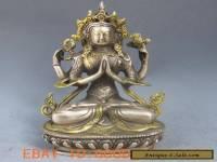 Chinese Silver Bronze Gilt Tibetan Buddhism Statue --- 4 Arm Tara Buddha