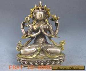 Chinese Silver Bronze Gilt Tibetan Buddhism Statue --- 4 Arm Tara Buddha for Sale