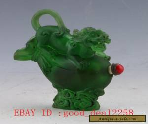 Original Chinese Coloured 18-19th Glaze Hand-carved Chi Dragon Snuff Bottle for Sale