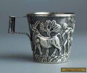 Rare Antique Handmade Greek Style Cup .925 Sterling Silver c.1920 Bulls Scene  for Sale