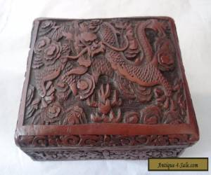 Superb Antique Chinese Carved Dragon Cinnabar Lacquer Box for Sale