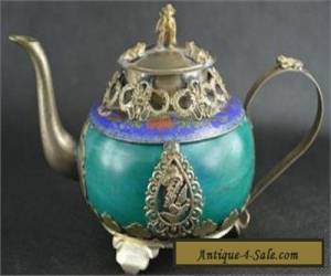 Chinese Vintage Collectibles Jade&Cloisonne Armored Miao Silver Dragon TeaPot for Sale