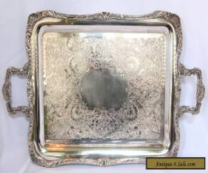 LARGE HEAVY ROGER BROS. SILVERPLATE BUTLER'S TRAY WITH ORNATE EDGE for Sale