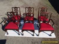 CHIPPENDALE STYLE SET OF 6 MATCHING MAHOGANY VINTAGE DINING CHAIRS
