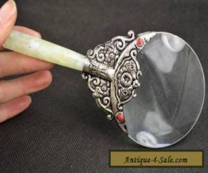 Old Decorated Handwork Jade Armoured Miao Silver Flower Usable Magnifying Glass for Sale