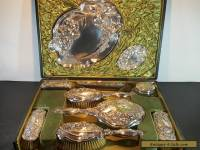 Sterling Silver Antique Art Nouveau Embossed Dressing Table Set Pots Trays 1907