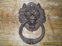 Cast Iron Antique Style Rustic LION HEAD Door Knocker Brown Finish