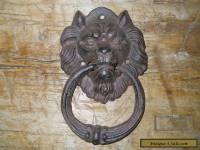 Cast Iron Antique Style Rustic LION HEAD Door Knocker Brown Finish