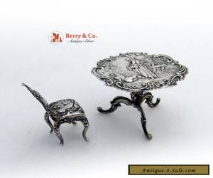 Antique Miniature Table and Chair Sterling Silver 1896 for Sale