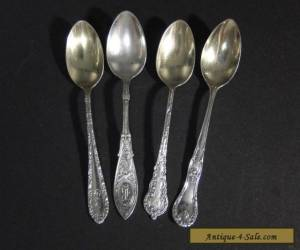 4 Antique Sterling Demitasse SPOONS Colbert Arabesque etc for Sale