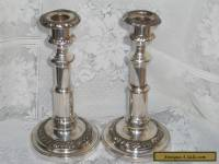 Pair Of Antique Georgian Silver Plate Telescopic Candlesticks