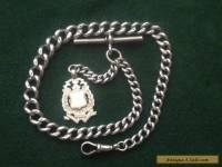 Antique Sterling Silver Albert Watch Chain with Fob, Each Link Hallmarked