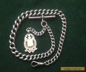 Antique Sterling Silver Albert Watch Chain with Fob, Each Link Hallmarked for Sale