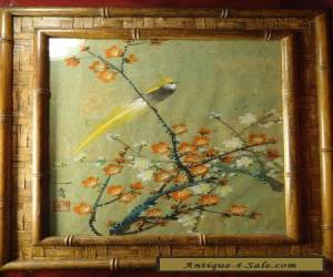 VINTAGE ASIAN BIRD & FLOWER PAINTING ARTIST SIGNED & STAMP for Sale