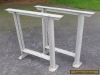 Vintage Pair Grey Industrial Mid Century Steel Work Bench Table Legs