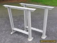 Vintage Pair Grey Industrial Mid Century Steel Work Bench Table Legs