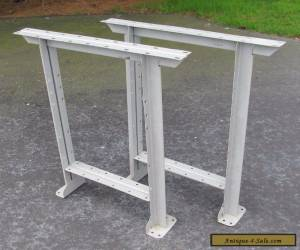 Vintage Pair Grey Industrial Mid Century Steel Work Bench Table Legs for Sale