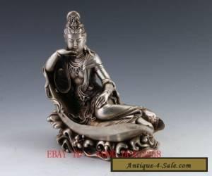 Chinese Silver Buddhism GuanYin Goddess Kwan-yin Buddha Statue             for Sale
