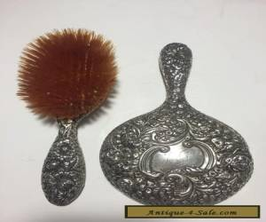 GORHAM ANTIQUE STERLING SILVER REPOUSSE HAND MIRROR & BRUSH, c. 1890 for Sale