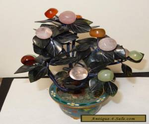 CLOISONNE ENAMEL ROSE QUARTZ JADE FLORAL FRIUT STONE BLOSSOM TREE for Sale