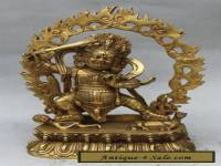 Tibet buddhism Brass Mahakala Wrathful Deity Boddha Hold Sword Statue  Descripti