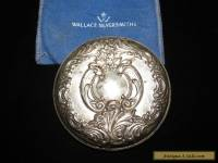 "VINTAGE WALLACE STERLING SILVER ART DECO ROUND PURSE MIRROR 3 3/16"" w/BAG"