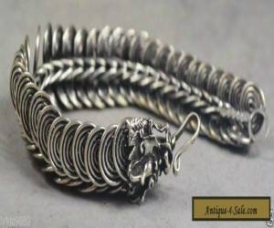 rare collectible handmade exquisite decoration miao silver bracelet - dragon for Sale