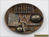 Miniature Chinese Export Silver Dish w/ Scholars Implements